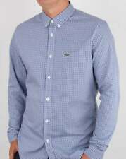 Lacoste Long Sleeve Check Shirt in Blue & White - gingham cotton