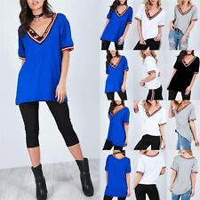 Ladies Womens Short Sleeve V Neck Stripes Oversized Baggy Stretchy T-Shirt Top