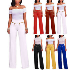 Women High Waist Pants Flare Wide Leg Long Pants Palazzo Trousers Stretch Solid