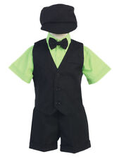 Baby Toddler Kids Boys Black Lime Green Shorts Suit Set Outfit Wedding Easter