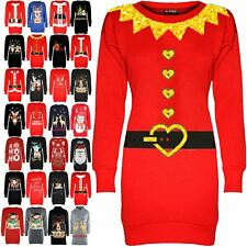 Womens Christmas Fleece Sweatshirt Ladies Snowman Tree Xmas Tunic Mini Dress