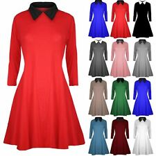 Womens Ladies Casual Plain Collared Flared Jersey Long Sleeves Swing Dress Top