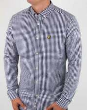 Lyle And Scott Gingham Shirt in Navy & White - check shirt, long sleeve cotton