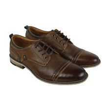 Steve Madden P-Kobold Mens Brown Leather Casual Dress Lace Up Oxfords Shoes