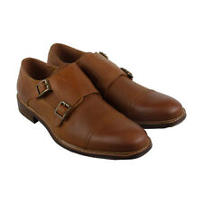Steve Madden Benin Mens Tan Leather Casual Dress Strap Oxfords Shoes
