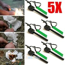 5X Survival Magnesium Flint Stone Fire Starter Emergency Lighter Kit For Camping