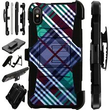 Lux-Guard For iPhone 6/7/8 PLUS/X/XR/XS Max Phone Case Cover PURPLE PLAID