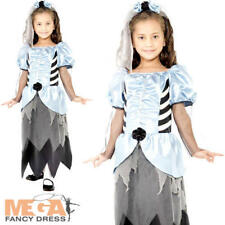 Gothic Zombie Bride Girls Fancy Dress Scary Undead Halloween Kids Costume Outfit