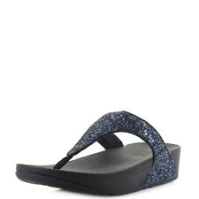 Womens Fitflop Glitterball Toe Post Midnight Navy Blue Wedge Sandals Sz Size