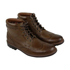 Clarks Curington Rise Mens Brown Leather Casual Dress Lace Up Boots Shoes