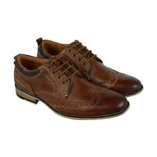 Steve Madden P-Kayak Mens Brown Leather Casual Dress Lace Up Oxfords Shoes