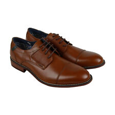 Steve Madden P-Exec Mens Brown Leather Casual Dress Lace Up Oxfords Shoes