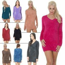 Womens Jumper Ladies Knitted Cardigans Plain Knitwear Fluffy V-neck Long Sleeves