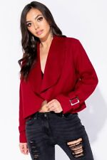 Wine Waterfall Front Cuff Detail Jacket
