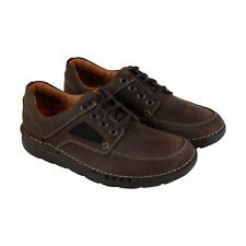 Clarks Unnature Time Mens Brown Leather Casual Dress Lace Up Oxfords Shoes