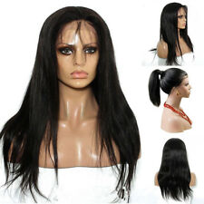 20'' Women Brazilian Hair Wigs Long Straight Lace Front Full Wig Baby Hair Black