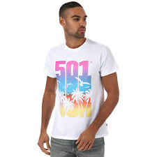 Mens Levis 501 Graphic T-Shirt In White- Short Sleeve- Ribbed Collar- Crew