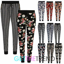 Womens Floral Print Crepe Tapered Trousers Ladies Skinny Fit Taper Pants 8-14
