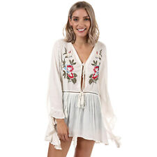Womens Glamorous Petite Floral Embroidered Frill Blouse In Cream