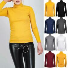 Womens Ladies High Turtle Polo Neck Crepe Stretch Long Sleeves Top Tee Shirt