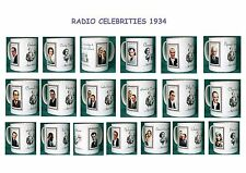 RADIO CELEBRITIES 1930'S.VINTAGE DESIGN MUGS.19  DESIGNS.FOX.HALL.KUNZ.ETC.NEW