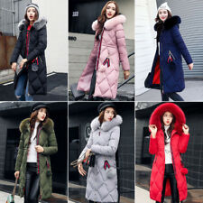 Women Winter Thicken Long Down Cotton Jacket Coat Parka Hooded Thick Warm Plus