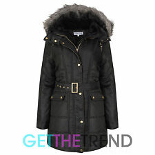 Womens Hooded Fur Trim Parka Jacket Ladies Long Winter Padded Bubble Coat Jacket