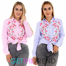 Womens Floral Embroidered Stripe Woven Shirt Ladies Casual Tie Up Collared Top