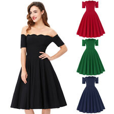Women Dress Evening Prom Cocktail Pinup Retro Off Housewife Vintage Party Swing