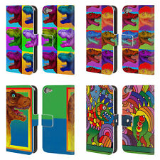 OFFICIAL HOWIE GREEN DINOSAURS LEATHER BOOK CASE FOR APPLE iPOD TOUCH MP3