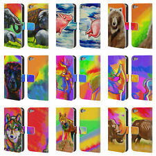 OFFICIAL HOWIE GREEN ANIMALS LEATHER BOOK CASE FOR APPLE iPOD TOUCH MP3