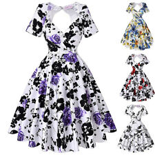 Dress Evening Picnic Prom Size Pinup Cocktail Floral Retro Vintage Party Swing