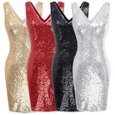 Ball Dress Cocktail Pencil Womens Party Mini Sequined V-neck Sleeveless Bodycon