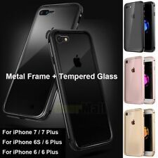 Luxury Aluminum Bumper Metal Frame+Tempered Glass Back For iPhone 6/6S/7/8/Plus