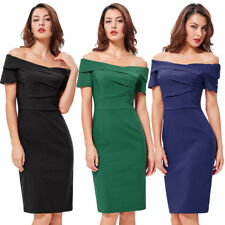 Women Dress Wiggle Cocktail Pencil Off Vintage Party Shoulder 50s Style Bodycon