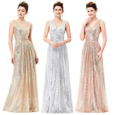 Stock New Long Prom Dress Sequin Prom Evening Gown Ball Party Bridesmaid Formal