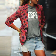 Casual Women Coat Red Plaid Long Sleeve Lapel collar Tops Outwear Spring New