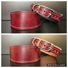 S/M Leather Dog Collar LINED Greyhound Lurcher Whippet Saluki BURGUNDY SHADED