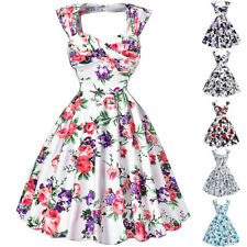 Dress Evening Pinup Retro Floral Housewife Vintage Party Swing 50s Back Style