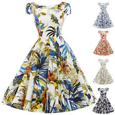 Women Dress Evening Size Pinup Cocktail Floral Retro Vintage Party Swing 50s