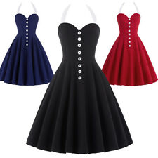 Dress Evening Nylon-cotton Pinup Halter Retro Vintage Womens Party Swing 50s
