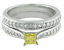 10K White Gold Treated Canary Genuine Diamond Solitaire Engagement Ring Set 1ct