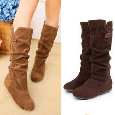Women Long Boots Half Boots knee high boots High Suede Flat Faux Leather Causal