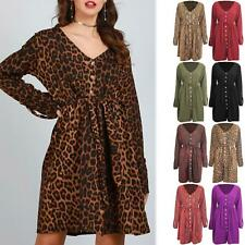 Womens Ladies Animal Prints Leopard V Neck Belted Front Button Long Sleeve Dress