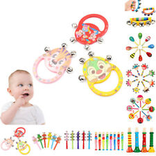 Hot Infant Baby Wooden Rattle Bell Toy Handbell Musical Education Instrument