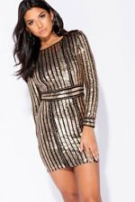 Black Chain Trim Sequin Stripe Bodycon Dress