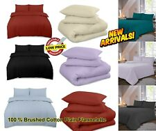 Thermal Flannelette 100% Brushed Cotton Fitted Flat Duvet Sheet Set Pillowcase