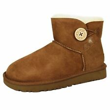 UGG BAILEY BUTTON MINI WOMENS CHESTNUT TWINFACE SHEEPSKIN AND SUEDE BOOTS