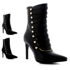 Ladies Dress Button High Heels Pointed Toe Stilettos Shoes Ankle Boots All Sizes