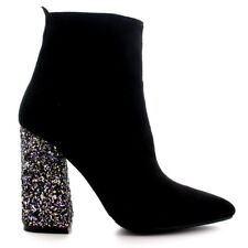 Ladies Pointed Toe Dress Glitter High Heels Trendy Autumn Ankle Boots All Sizes